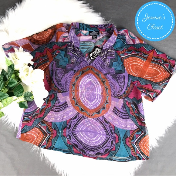 Angie Tops - Angie Aztec Tribal Indian Print Sheer Blouse Top L